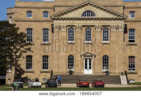 Bristol UK - April 02 2017: Kings Weston House entrance front across the lawns. Kings Weston House is a historic building in Bristol England. It was built between 1712 and 1719 was designed by Sir John Vanbrugh.