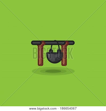 Tourist pot bowl isolated for cooking camping vector icon. Tourist bowler, cooking food camping illustration on green background