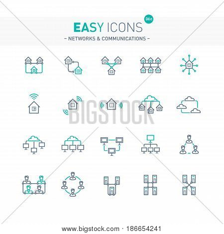 Vector thin line flat design icons set for network, communication and computer themes
