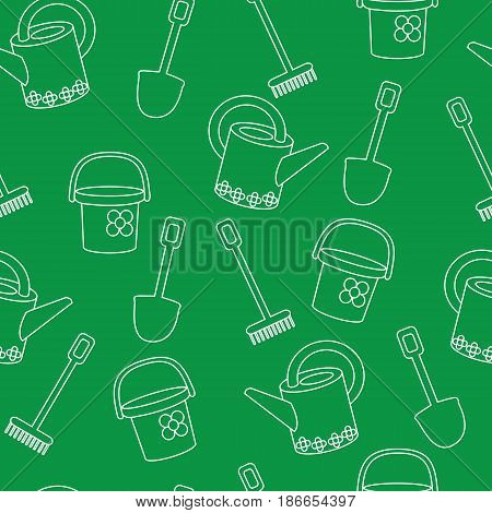 Seamless pattern with garden stock on a green background. A vector picture with a rake, a shovel, a bucket and a watering can. White contour