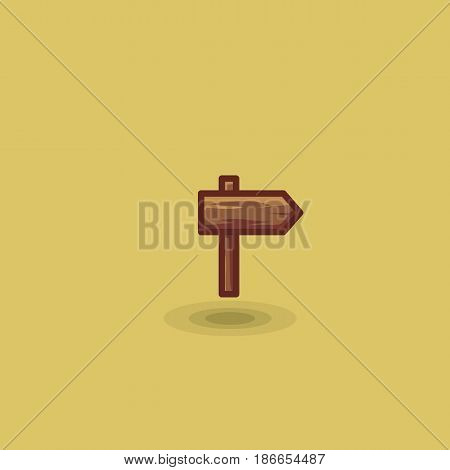 Vector icon one wooden path sign to right isolated. Illustration of one wooden tourist arrow pointing road to right