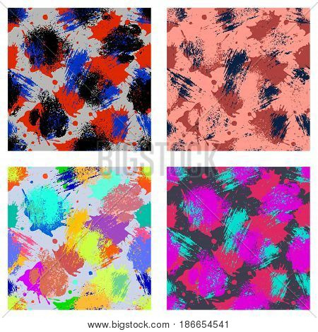 Vector Set Of Seamless Patterns, Tiles With Inc Splash, Blots, Smudge And Brush Strokes. Grunge Endl