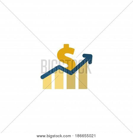 Flat Profit Element. Vector Illustration Of Flat Net Income  Isolated On Clean Background. Can Be Used As Profit, Increase And Dollar Symbols.