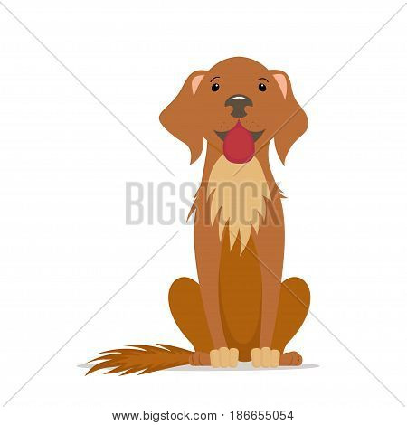 Cute, friendly big dog sitting straight with tongue out, front view cartoon illustration isolated on white background. Cartoon portrait of brown dog, puppy character, sitting, front view illustration