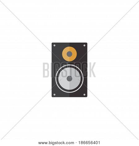 Flat Loudspeaker Element. Vector Illustration Of Flat Amplifier Isolated On Clean Background. Can Be Used As Amplifier, Loudspeaker And Megaphone Symbols.