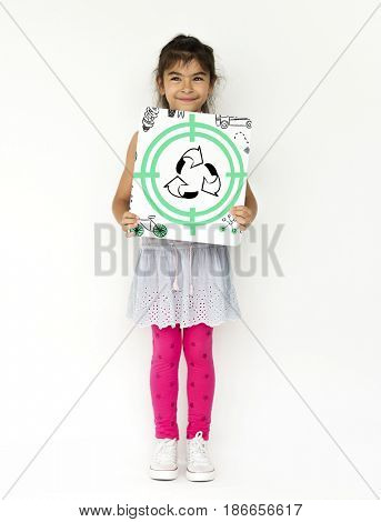 Little Girl with Recycle Sign Eco Friendly Save Earth Word Graphic