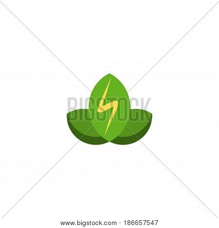 Flat Green Power Element. Vector Illustration Of Flat Eco Energy Isolated On Clean Background. Can Be Used As Eco, Energy And Power Symbols.