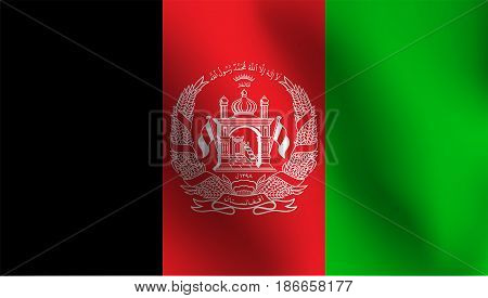 Flag of Afghanistan with a little Waving, Shading & Flag Colors separated layers - Vector Illustration