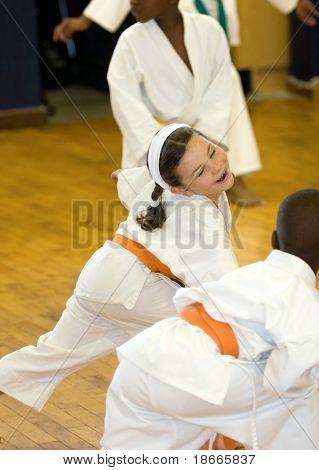 Small karate girl training in the dojo.