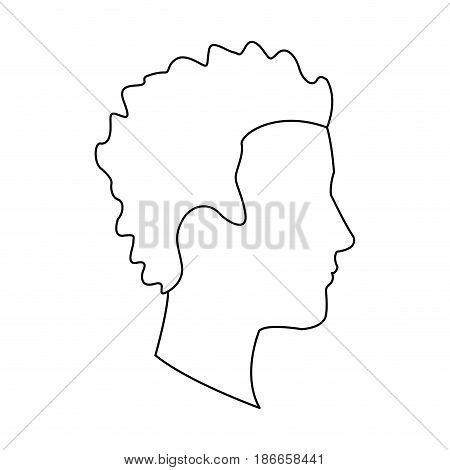 profile head guy young character outline vector illustration