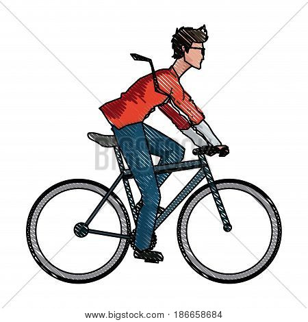 drawing young man riding bicyle with suit and glasses vector illustration