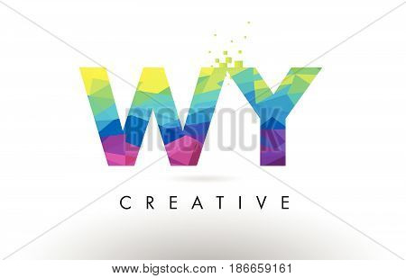 Wy W Y Colorful Letter Origami Triangles Design Vector.
