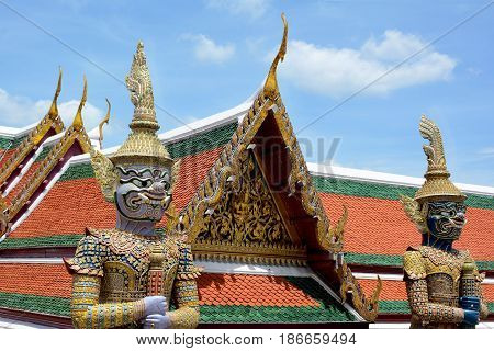 Giant Demons (yaksha) Guarding An Exit To The Grand Palace In Wat Phra Kaew Complex. Bangkok, Thaila