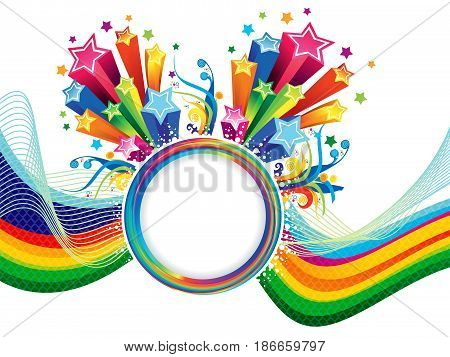 abstract artistic colorful rainbow wave backround explode vector illustration