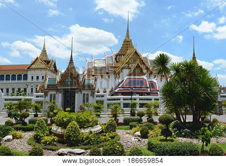 Beautiful View Of The Garden Before Grand Royal Palace. Bangkok, Thailand. Phra Thinang Chakri Maha