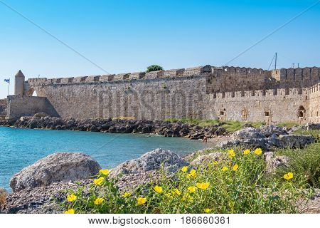 Coastal fortifications of old town. Rhodes Dodecanese Greece Europe