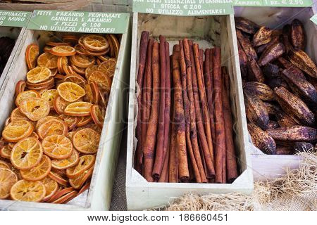 View of dried fruits used for aromatherapy and smell nice