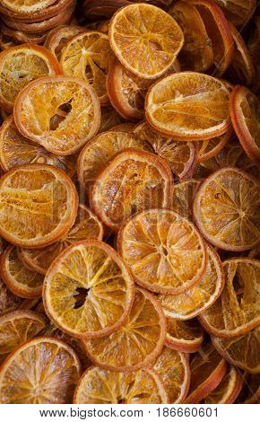 Top view of delicious dried slices orange