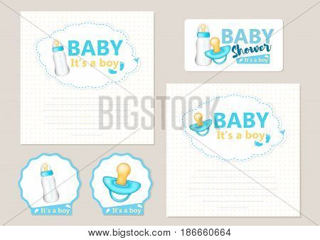 """""""Baby shower"""" - set for the boy with realistic blue pacifier and baby bottle. Vector."""