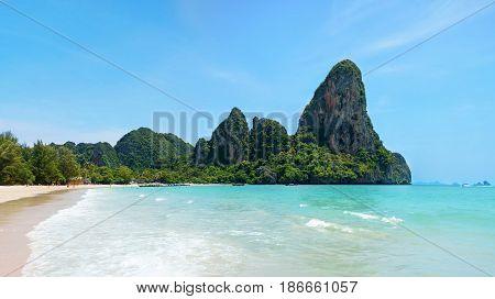 Beautiful Tropical Beach. Railay Beach In Krabi Province, Thailand.