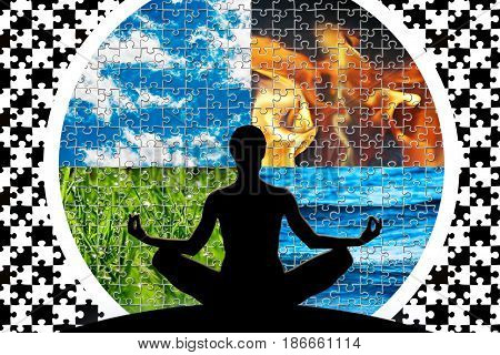 Female yoga figure in a circle composed of four puzzle cut natural elements (water fire earth air) as a concept for control emotions power over nature mind.