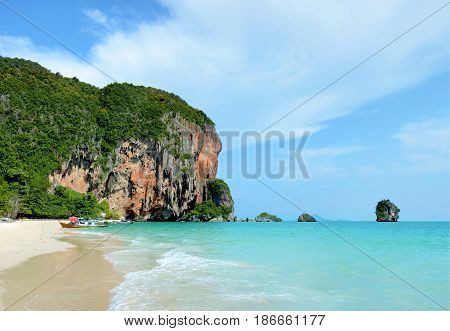 Pranang cave beach. Beautiful tropical landscape in Krabi Thailand.
