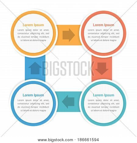 Circle diagram infographic template with four steps or options, workflow, process, vector eps10 illustration