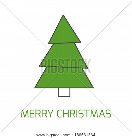 Simple Christmas giftcard template with Christmas tree and wish. Modern thin line design. Isolated illustration.