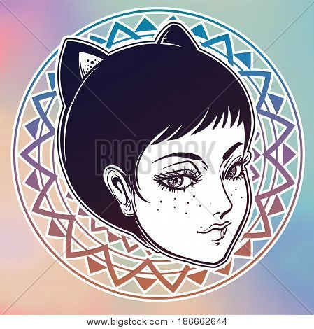 Beautiful anime or retro manga style poster of a woman with cat ears. Cute character design. Cat girl. Magic, fantasy, tattoo art, coloring books. Isolated vector illustration.