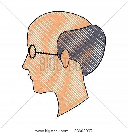 drawing head profile man adult bald glasses vector illustration