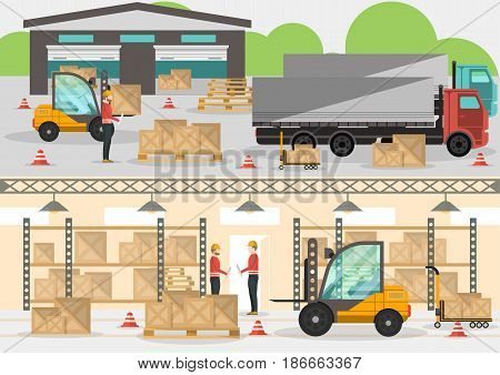 Goods distribution business banner in flat design. Loading in storehouse vector illustration with freight truck and forklift. Commercial freight service, shipping company, cargo delivery and logistics