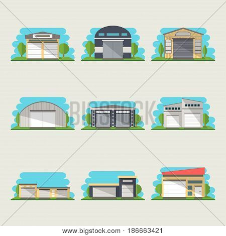 Commercial storehouse isolated icon set. Storage building vector illustration collection. Commercial real estate, distribution business, freight service, front view cargo warehouse elements.