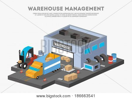 Warehouse management isometric business banner. Goods distribution, loading in storage vector illustration with truck. Commercial freight service, shipping company, cargo delivery and logistics