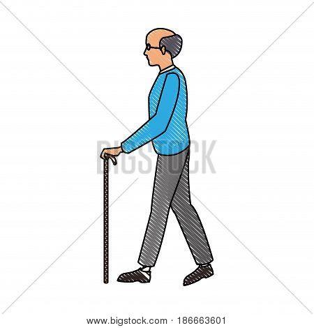 drawing elderly man walking stick cane vector illustration