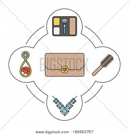 Women's accessories contents color icons set. Blusher, hair brush, clutch, necklace, earring. Isolated vector illustrations