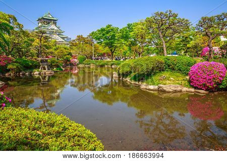 Scenic landscape of Osaka Castle Park, the most popular hanami spot during cherry blossom season and Osaka Castle reflecting in a pond. Osaka Castle is one of most famous landmarks of Japan and Osaka.