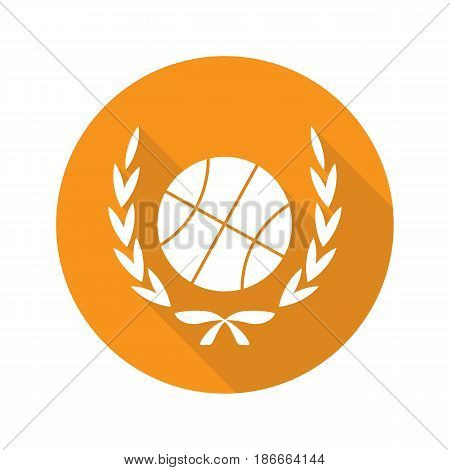 Basketball championship flat design long shadow icon. Basketball ball in laurel wreath. Vector silhouette symbol