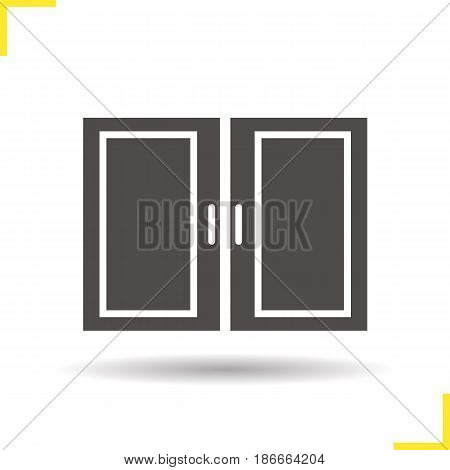 Kitchen cabinet glyph icon. Drop shadow silhouette symbol. Negative space. Vector isolated illustration