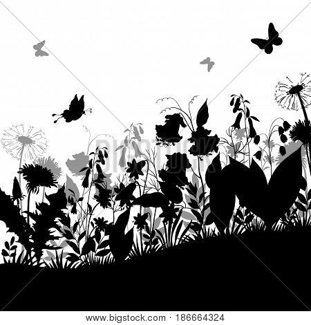 Summer Landscape, Butterflies, Grass, Flowers Dandelions and Bluebells, Leaves Black and Gray Silhouettes on White Background. Vector