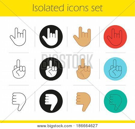 Hand gestures icons set. Linear, black and color styles. Dislike, heavy metal, middle finger up. Isolated vector illustrations