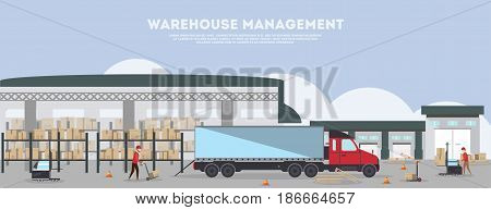 Warehouse management banner. Goods distribution business concept, loading in storage vector illustration with freight truck. Commercial freight service, shipping company, cargo delivery and logistics