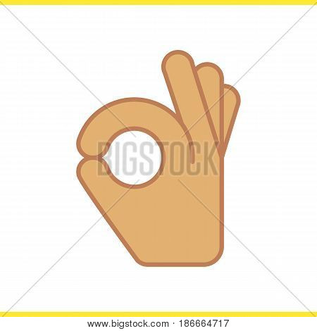 OK hand gesture color icon. Isolated vector illustration