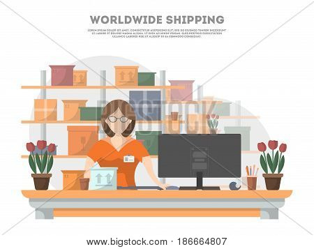 Worldwide shipping poster with services operator on delivery terminal. Goods shipping, cargo delivery and logistics. Postal service and distribution, local delivery company vector illustration concept
