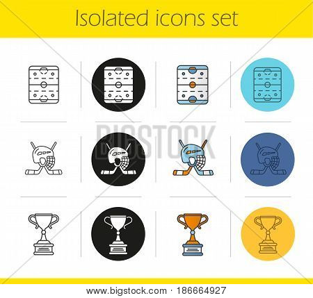Hockey icons set. Linear, black and color styles. Sticks and helmet, rink, winner's gold trophy. Isolated vector illustrations