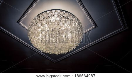 Glow of a large glass ceiling fixture