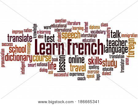 Learn French, Word Cloud Concept 5