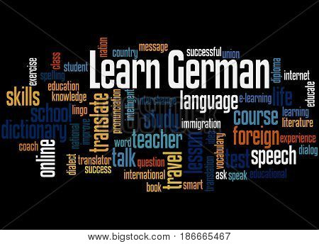 Learn German, Word Cloud Concept 2