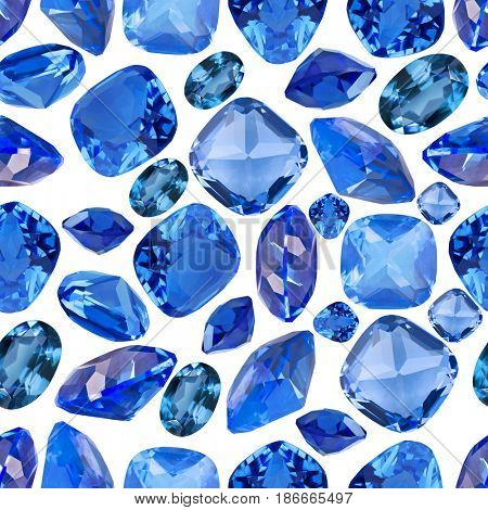 set of blue sapphire gems seamless background