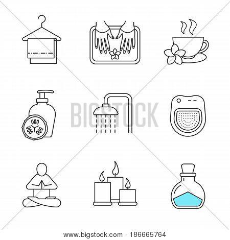 Spa salon linear icons set. Towels on clothes hanger, yoga pose, cucumber lotion, shower, herbal teacup, candles, salt bottle, spa salon bath. Thin line contour symbols. Isolated vector illustrations