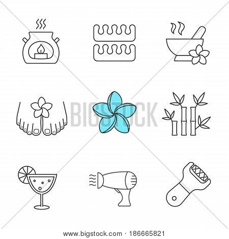 Spa salon linear icons set. Aromatherapy candle, toes separators, mortar and pestle, hairdryer, plumeria, bamboo sticks, cocktail, foot file. Thin line contour symbols. Isolated vector illustrations